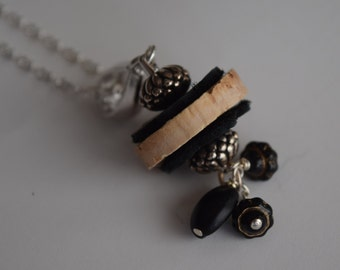 Wine Cork Pendant with Silver and Black Accents
