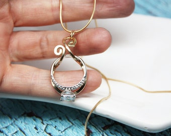 magic ring holder necklace wedding engagement ring holder pendant yellow or rose gold - Wedding Ring Holder Necklace