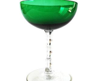 2 Tall Vintage Champagne Glasses Fostoria Green Stemware Coupe Champagne