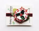 Christmas Headband, Holiday Hair Bows Holly Berries, Stocking Stuffer Gifts, giddyupandgrow