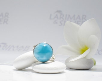Larimarandsilver ring size 6.5, Pool of the Gods - deep blue Larimar round ring, denim blue, peacock blue ring, handcrafted Larimar ring