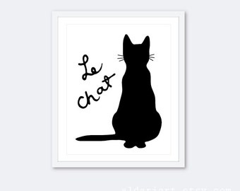 le chat cat art print cat wall art french cat poster cat decor