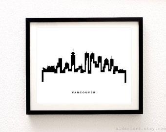 Vancouver Skyline Print - Cityscape Print -  Vancouver City Print - Modern Vancouver Poster - Aldari Art
