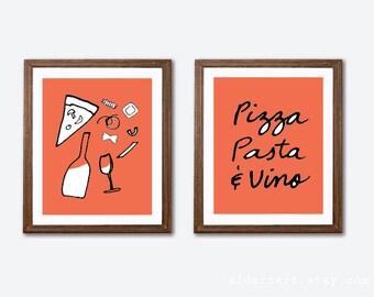 Pizza Pasta Vino Art Prints -  Pizza Pasta and Wine Prints - Italian Kitchen Wall Art - Set of Two Prints - Coral Black and White Decor