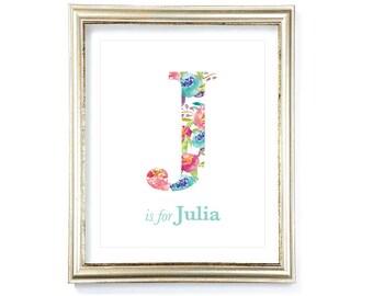 Watercolor Floral Initial Print - Floral Letter - Baby Girl Nursery Initial Art Print - Nursery Letter and Name Print - Aldari Art