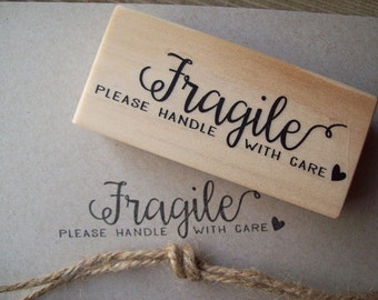 Fragile Rubber Stamp - Please Handle With Care , Calligraphy Swirls Packaging Heart