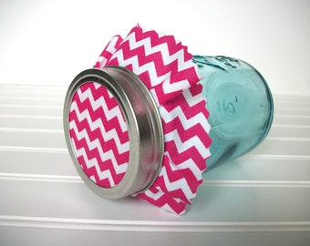 12 Hot Pink Chevron Jam Jar Covers, Cloth Toppers for canning jars, magenta fabric for mason jars, food preservation, shower favor jars