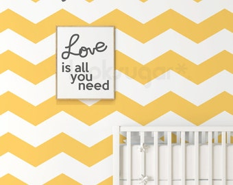 Chevron Wall Decal with Wall Stencil effect - Baby Nursery Wall Decal - 15% Off for 5 sets or more - AP0022