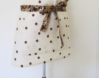 Adult Half Apron - A hip brown dots and spirals on the Body and Brown Paisley on the Straps, a great vendor, gardening or cooks half apron