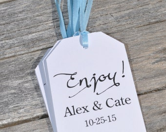Baby Shower Favor Tags Enjoy, Wedding Thank You Tags, Favor Tag, Bridal Shower Favor Tags, Birthday Favor Tags - Set of 12