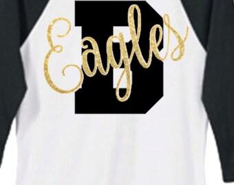 Custom Mascot Shirt, 3/4 Baseball Tee, School name Shirt, Large Letter with Mascot Shirt, Football Shirt, Sport Shirt