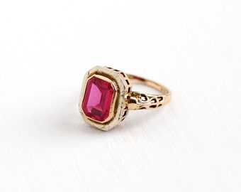Sale - Vintage 10k White & Rose Gold Art Deco Created Ruby Ring - Size 3 1/2 Antique Filigree 1920s Red Pink Stone Filigree Fine Jewelry