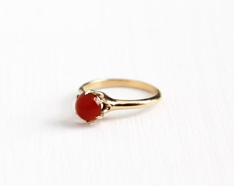 Sale - Antique 14k Yellow Gold Carnelian Solitaire Ring- Vintage Edwardian Early 1900s Size 6 1/4 Dark Red Gem Cabochon Fine Antique Jewelry