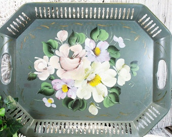 Green Tolle Tray, Vintage Floral Tray, Serving Tray, Decorative Tray, vintage