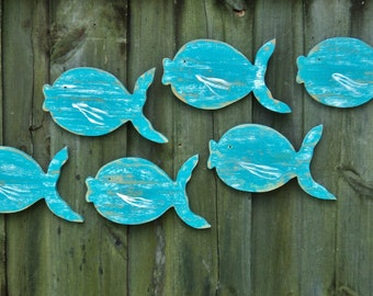 Beach Decor, School Of 6 Wooden Fish, Wall Hanging