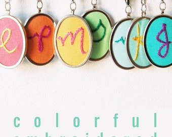 Custom Hand Embroidery. Initial Jewelry. Personalized Necklace. Embroidered Letter Pendant. Mommy Necklace. Souther Prep. Colorful Monogram