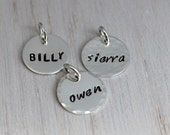stamped sterling silver disc | custom stamped disc | hand stamped disc | name tag | stamped word| personalized disc | small 1/2""