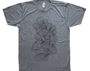 Mens T Shirt - Geometric Topographic Map Mens / Unisex T Shirt - Soft Tri Blend Heather Gray - Made in the USA Hand Printed Size S, M, L, XL