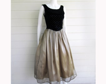 party dress Jessica McClintock black velvet sequin top gold skirt S