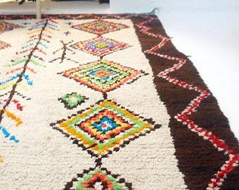 """Vintage Moroccan Wool Rug - AZILAL """"Diamonds"""""""