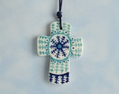 Turquoise and Sapphire Blue Small Cross - Double Sided Ormament