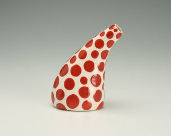 Red Polka Dot Vase Single Flower See Ya Later Tilt Vase Hand Painted