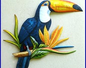 Hand Painted Toucan - Tropical Wall Decor - Painted Metal Parrot Wall Hanging-  Handcrafted Tropical Home Decor - Metal Wall Art - K7042