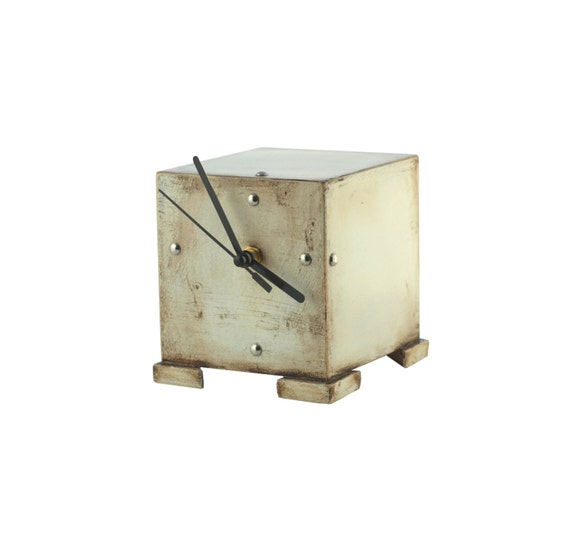 FREE SHIPPING - CLOCK cube, Desk clock, Unique gift, Wooden clock, Birthday gift, Valentines day gift