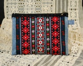 Handmade Blue Denim Pouch with Vintage Black, Red and White Embroidered Trims, Vintage Black Cotton Lace, Zipper Closure, Lined
