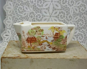 Vintage Creamer, Colorized Brown Transfer Ware, Made in Japan