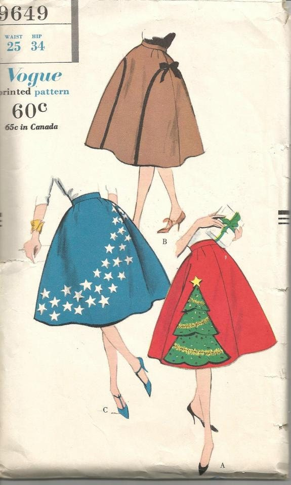 1950s Circular Skirt Pattern Christmas Holiday Skirt By