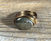 size 6.25 , 6 1/4 - bohemian Pyrite stone antique brass gold wire wrapped ring -  gemstone jewelry women men unisex black grey metallic