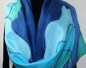 Hand Painted Silk Scarf Sea Flowers. Scarf in Blue, Turquoise, Purple. In Three SIZES.  Birthday, Anniversary Gift. Gift Wrapped.