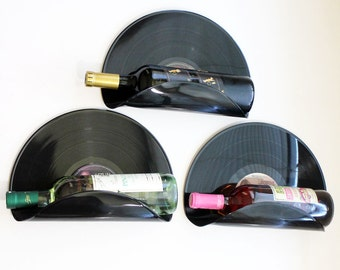 Bachelor Pad Vinyl Record Wine Rack Wall Organizer - Set of 3