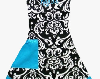 PERSONALIZED Adult Size Black, White & Aqua Damask Pattern Apron