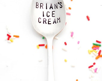 Personalized Name Ice Cream Spoon. CUSTOM TABLESPOON. Hand Stamped Spoons by Sycamore Hill. As seen on The Today Show with Kathie Lee & Hoda