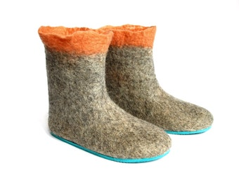 Apricot Breeze Wool Booties - Felted Shoes - Minimalist Shoes - Wool Shoes - Valenki Boots - Mix and Match - Rubber Soles - Womens Shoes