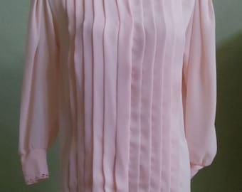"Vintage 80's Josephine Long Sleeved Light Pink Blouse with Cutwork Detailing on Collar and Sleeve Cuffs Bust 38""  Waist 38"""
