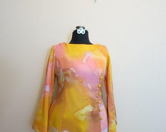 Dress MOD 1960s orange watercolor bell sleeve pockets XL