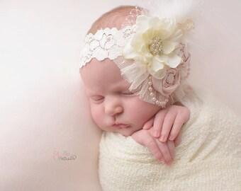 Ivory  vintage pink flower headband,rolled flowers,any size,feather headband, photo prop,newborn headband, baptism headband