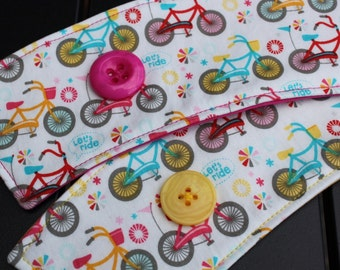 Fabric Coffee Cup Sleeve - Let's Ride Bicycle Cozy - Pink Yellow Bike -Coffee Shop- Coffee Lover Gift - Cup Wrap -Riley Blake -Tea Fanatic