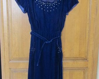 Vintage 1950's Era GLORIA SWANSON Blue Velvet Fitted Wiggle Dress with Rhinestones--Small