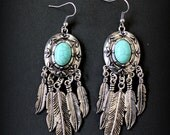 Tibetan silver Feathers Long earrings Howlite turquoise cabochon long earrings Boho bride Gypsy Native american Statement piece by Inali