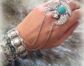 Thunderbird/Eagle Ring and Bracelet Combo Alloy silver chain& Howlite Turquoise Native inspired slave bracelet Bohemian jewelry by Inali
