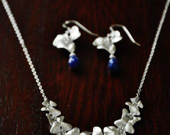 Silver Dogwood Flowers Jewelry Set with Dark Blue Lapis Lazuli Gemstones Earrings - Necklace, Wedding Jewelry,Bridal Jewelry