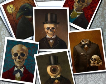 Gothic Notecards, Skeleton Cards, Victorian Low Brow,  Steampunk, Spooky Art Cards, , Halloween Card Set, Skull Card, Raven, Morbid,