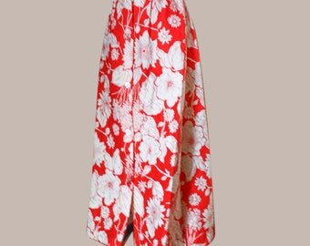 Red and White Floral  Long Quilted Skirt