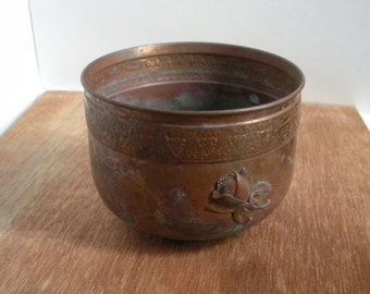 Free Shipping 1950s Copper Footed Planter