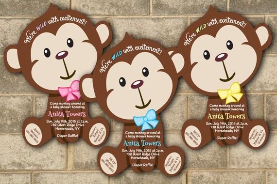 monkey baby shower invitations jungle baby shower invitation, Baby shower invitations