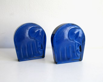 Cobalt Blue Glass Elephant Bookends